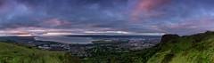 Summer Solstice Dawn Cave Hill (Glen Sumner Photography) Tags: pink ireland sea panorama cloud colour sunrise landscape dawn landscapes lough ray purple shoreline belfast summit vista northernireland dramaticsky belfastlough belfasthills