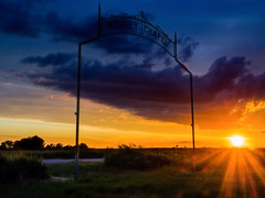 Sunset At Wesley Chapel (I'm Rich) Tags: road sunset summer sky cemetery clouds america midwest nebraska olympus roadside gravel omd em10 richcarstensen
