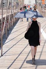 white lady in black dress on Brooklyn Bridge (dirklie65) Tags: red woman white newyork black girl fashion lady umbrella robe front lips brooklynbridge blass schirm