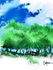 Shade. (golfbag3) Tags: trees sky landscape deer