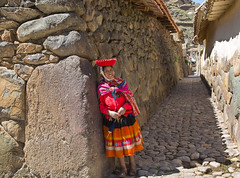 Ollantaytambo-Woman In Village (cheryl strahl) Tags: woman peru southamerica inca stone carved alley village traditional ngc cobblestone granite passageway ollantaytambo archeologicalsite