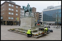 Lady Godiva Statue having bedding plants today Coventry. (nexapt101) Tags: broadgate coventry ladygodiva