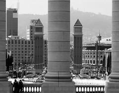 barcelona (gerben more) Tags: barcelona city tower square blackwhite spain pillars cityview