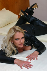 Cold Angel 67 (The Booted Cat) Tags: sexy leather model shiny pants blonde heels tight miss sixty