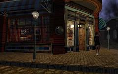 Closing Time (Teddi Beres) Tags: life lamp girl night corner cafe post cobblestones sl second lamps closing strett babbage