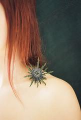 (lifeletmego) Tags: blue portrait woman flower film female analog canon hair skin kodak thistle redhead shoulder canona1 kodakportra400 kodakportra meinfilmlab