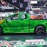 Metallic green high-reflective Isuzu X-Series pickup truck at the 36th Bangkok International Motor Show thumbnail