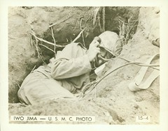 Marine Takes Shelter, 1945 (Marine Corps Archives & Special Collections) Tags: world marine war ii corps marines iwo jima