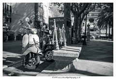 Essentially European (Wil Wardle) Tags: street england blackandwhite bw monochrome canon photography european vespa britain scooter mallorca palma f28 motocycles palmademallorca streetstyle adobelightroom britishphotographer 5dmk3 wilwardle eastbournephotographer ebphoto canonef2470mmmk2