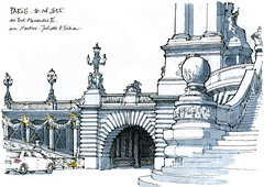 Paris, pont Alexandre III (gerard michel) Tags: paris france sketch pont croquis