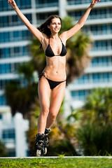 Blonde Woman Rollerblading (Eric Hood Photography) Tags: vertical skating bikini rollerblading inlineskating 20s caucasian colorimage armsraised erichood erichoodphotography