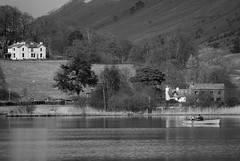 Chillin' on the lake... (zapperthesnapper) Tags: blackandwhite monochrome boats mono boat nationalpark grasmere lakedistrict lakeland rowingboat
