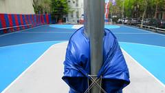 Blue vest on a one-track mind (Robert Saucier) Tags: newyorkcity blue newyork manhattan bleu img1716 3ofblue