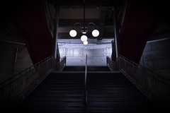 Metro Station Paris (eddy.kamalsky) Tags: travel urban paris france architecture night stairs dark subway scary metro steel rail spooky backpacking cite