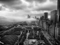Chicago Fog (mckenziemedia) Tags: city trees light urban blackandwhite chicago streets fog skyline architecture clouds buildings dark illinois roads cloudgate thebean iphone