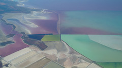 Colorful Patchwork in the Great Salt Lake (aaronrhawkins) Tags: greatsaltlake brineshrimp evaporationponds salt harvest pools ponds summer stansburybay lake colors psychedelic algae plane window surface utah airplane flight aaronhawkins