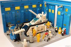 """White Tiger"" | Futuron Tank at the maintenance bay (Andrea Lattanzio) Tags: bay tank lego space hangar workshop whitetiger legospace classicspace futuron legotank spacetank norton74 mainteneancebay futurontank"