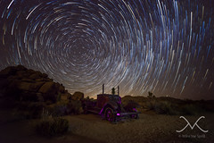 Wall Street Mill Abandoned Car Star Trails (Mike Ver Sprill - Milky Way Mike) Tags: wallstreetmill joshuatree nationalpark california cali abandonedcar truck startrail startrails mv milkywaymike michaelversprill mikeversprill stars rocks longexposure nightsky milkyway barkersdam mine mining landscape cosmos galaxy universe amazing beautiful stacked june2016 nikond600 14mmsamyang rokinon starstax star stax urbex sand