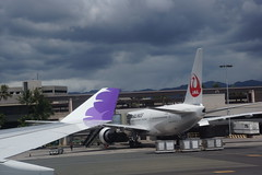 Wing of plane and Hawaiian Airlines and Japan Airlines (J-Air) airplanes as they sit at airport terminal (Eric Broder Van Dyke) Tags: japan plane spring airport oahu airplanes wing terminal sit hawaiian they airlines jair 2015
