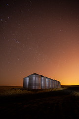 Silos In The Night (stevenbulman44) Tags: winter calgary canon stars landscape farm silo alberta lseries 1740f40l lightpainters