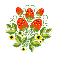 Strawberries background in traditional Russian style Khokhloma Vector (liliyamehonoshina) Tags: original red summer plant black flower green classic nature floral silhouette illustration painting gold design leaf strawberry branch pattern graphic bright image russia handmade drawing decorative background decoration picture culture foliage ornament fabric elements russian heading ornamental vector tracery floralpattern backgroundtexture khokhloma hohloma russianpattern