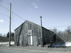 Lonely Barn (gabi-h) Tags: road old ontario barn rural ancient rustic shed powerlines weathered dilapidated princeedwardcounty hydropoles barnboard gabih