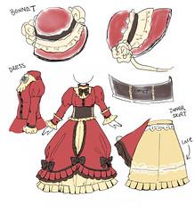 Custom doll dress: Victorian (Mahohime) Tags: illustration design artwork dress 19thcentury victorian pullip concept bonnet commission frill obitsu
