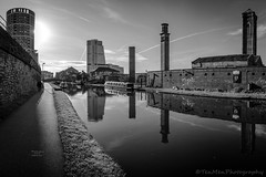 The 5 Towers (jasonmgabriel) Tags: bw white reflection tower water monochrome clouds buildings canal lock leeds barge towpath nlack