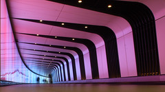 Ghosts In The Machine (2) (1selecta) Tags: lighting longexposure pink light england people white black color colour london lines walking person lights intense colorful walk tunnel walkway colored whit colourful persons kingscross curve kingscrossstation triangular curving lighttunnel