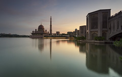 putra mosque (gilbertchuachian_siong) Tags: park longexposure morning travel lake reflection building tourism sunrise photography arch sony muslim prayer relaxing mosque malaysia destination putrajaya interest masjid samyang putramosque a6000