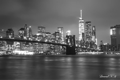 Misty nights (deeval99) Tags: nyc longexposure blackandwhite canon photography bridges landmarks brooklynbridge bnw freedomtower canon6d bnwphotography onewtc oneworldobservatory