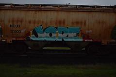 JORE (TheGraffitiHunters) Tags: street blue red white black art yellow train graffiti rust colorful paint tracks spray jersey hopper freight benched jore 20500 benching ncux20500