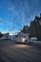 Dusk at Boulder Creek Lodge (dgilder) Tags: chalet xl1920 1920 xldusk montana hall camping rv recreationalvehicle evening sunset aframe popup dormer usa