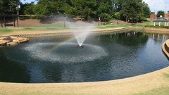 A Fountain, A Pond & A Rainbow Thrown In For Good Measure (pikespice) Tags: lake water fountain geotagged rainbow pond widescreen geotag greer werehere 10millionphotos hereios