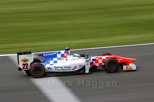 Oliver Rowland in the MP Motorsport car in GP2 Practice at the 2016 British Grand Prix