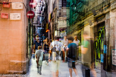 Double Exposure (stevenkeating58) Tags: barcelona street city people abstract architecture shopping evening spain exposure families double shops shoppers