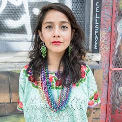 cellspace (Super G) Tags: sanfrancisco california portrait woman tattoo graffiti beads streetportrait cellspace carnavalsf2016 nikon281