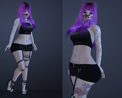 Post #1744 ( =^^=) Tags: black pink pinkatude fashion blog secondlife sashakitteh wildrose skirt harness shoes blood mask knees bow cat kitty ombre hair jewelery rings bloody tattoo rose garter