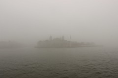 Ellis Island in the fog, New York
