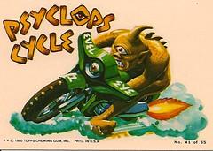 Weird Wheels Psyclops Cycle (Topps 1980) (Donald Deveau) Tags: sticker cyclops motorcycle hotrod monsters topps tradingcards weirdwheels