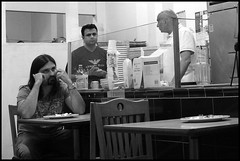 Indian Restaurant (abking09) Tags: sanfrancisco california street people white black men monochrome restaurant slow candid allanking