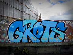 GROTS - Cheltenham (Oliver_Parton) Tags: road street city uk bridge roof portrait people urban white streets colour london art rooftop up station wall yard train writing bristol grey graffiti stencil highway sticker exposure paint motorway mask top tag side tracks tunnel can spray chrome gloucester roller p graff piece wes cheltenham throw leake peice throwup trackside robbo lonesome handstyle throwie writtenword