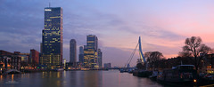 Koningshaven (Peet de Rouw) Tags: sunset panorama holland water skyline rotterdam dusk bluehour kopvanzuid erasmusbrug zuid canonef24105mmf4lisusm koningshaven denachtdienst canon5dmarkiii peetderouw