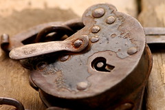 Lock (somebodywithacamera) Tags: vintage rust key rivets lock antique
