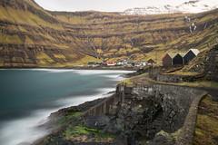 Tjornuvik, Faroe Islands (esslingerphoto.com (back in London)) Tags: longexposure snow mountains stairs harbor fishing harbour huts waterfalls boathouse faroeisland tjrnuvk