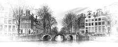 Amsterdam (Bruno MATHIOT) Tags: city bw panorama white black water monochrome canon french eos mono canal eau europe angle noiretblanc pano centre wide grand center nb ultra hdr ville 52 croquis hollande 10mm photomatix pictural tonemapping 650d