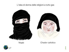 L'idea di donna delle religioni a tutto gas (uomoplanetario.org) Tags: donna islam niqab satira vignetta religioni chador cattolici uomoplanetarioorg