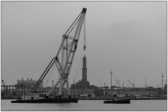 Carichi pesanti - Heavy loads (Matteo Bersani) Tags: genova italybw sonyalphaitalia a58 bwbwbnblackwhitebianconero mare sea water acqua gru nave barca ship navy faro lighthouse porto port