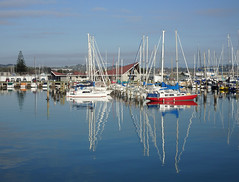 Ahuriri in the still of the morning (Karen Pincott) Tags: blue autumn sea newzealand water marina reflections sunny napier ahuriri ahuririmarina