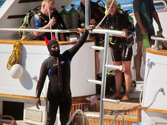 Guy in a Wetsuit (shaire productions) Tags: egypt egyptian travel world image picture photo photograph sea ocean marine coast coastal shore beach photography travelphotography redsea resort cruise boat ship sailing water bay blue waters nature outdoors hurghada tour tourism guy man male wetsuit diver